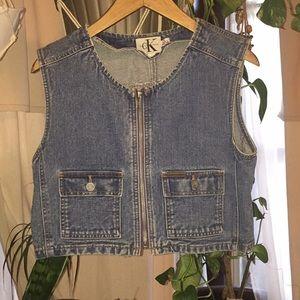 Calvin Klein Jeans Denim Vest zipper vintage